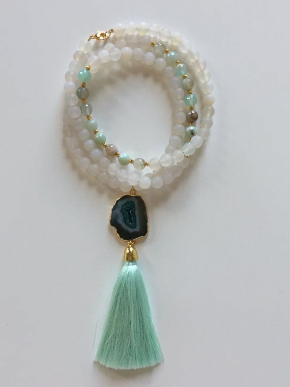 Long Mint Green and White Agate Boho Beaded Druzy Slice and Silk Tassel Necklace #piercedesignco