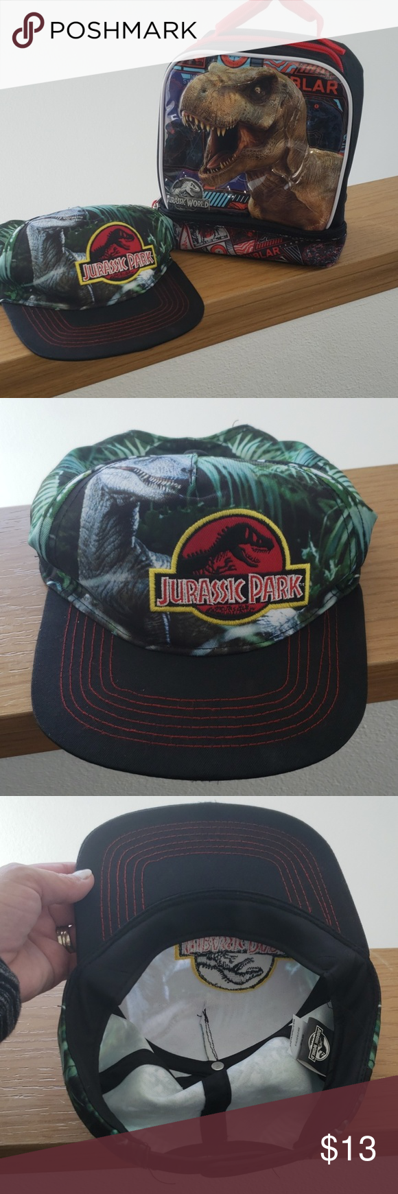 ⬇️Jurassic Hat and Lunch box GUC, Jurassic Park/World Hat and lunchox Accessories Bags #jurassicparkworld