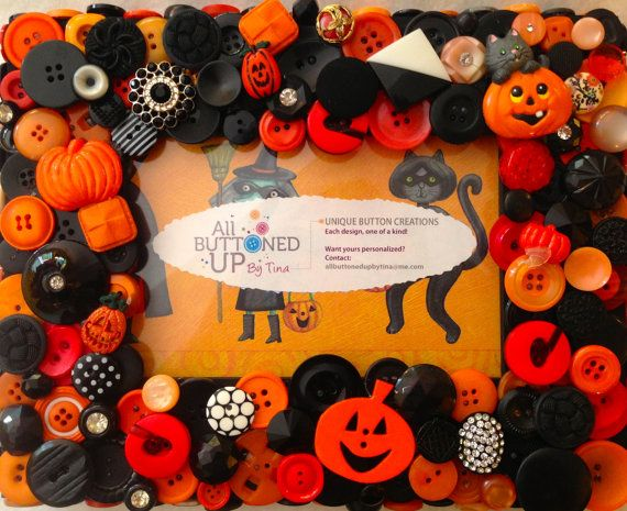 HALLOWEEN Button Frame with Pumpkin and Cat in Black and Orange
