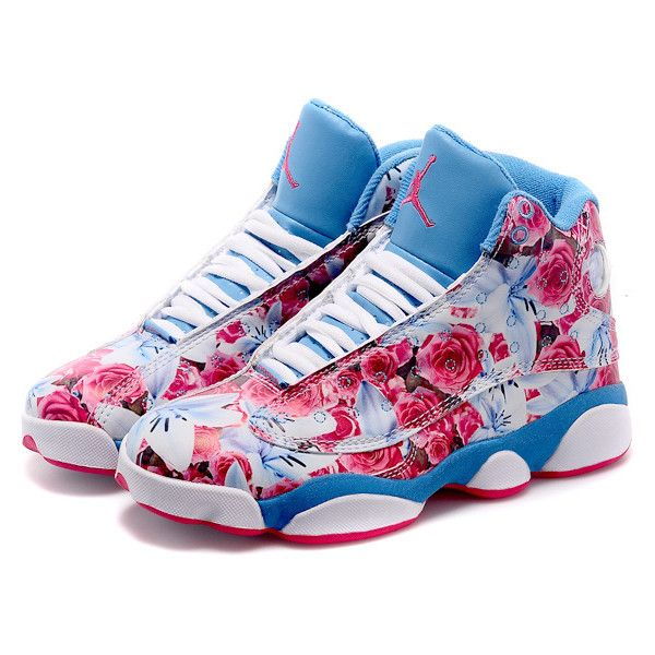 779aadd3d71 Newest Girls Size Air Jordan 13 GS Floral White Pink Blue ❤ liked on  Polyvore featuring shoes and jordan 13