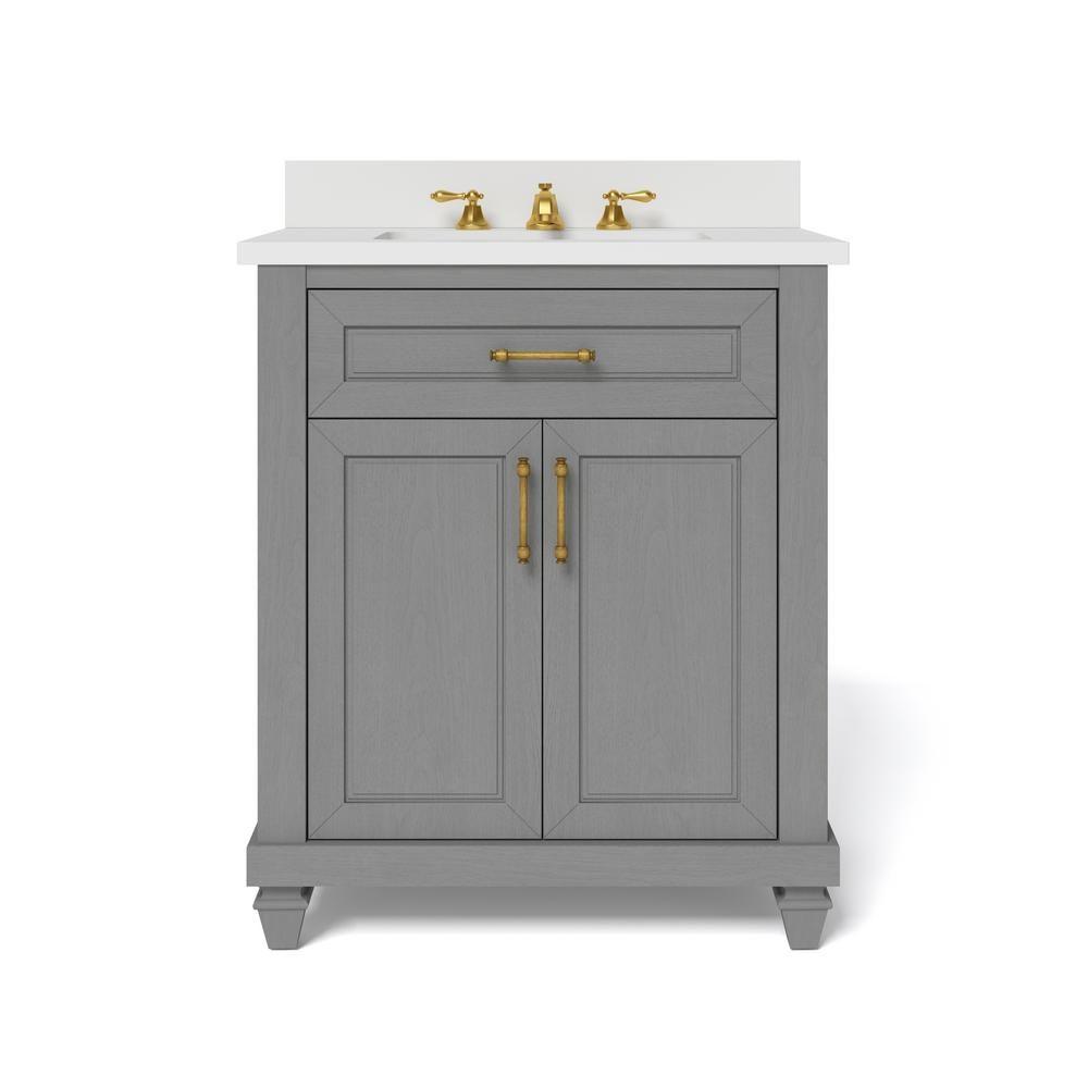 Home Decorators Collection Grovehurst 30 In W X 34 5 In H Bath Vanity In Antique Grey With Engineered Stone Vanity To In 2021 Bath Vanities Vanity Marble Vanity Tops