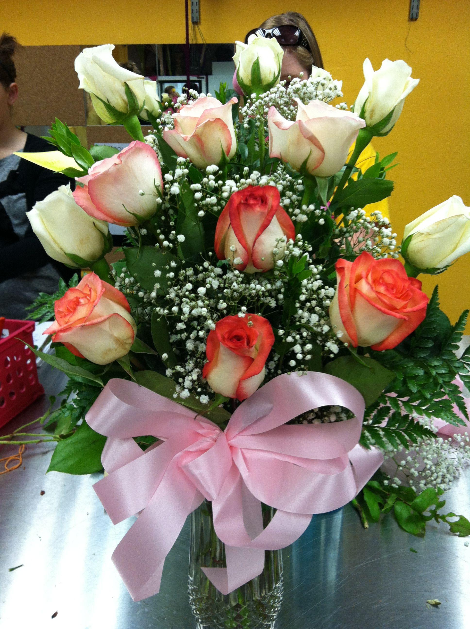 Dozen rose arrangement Rose arrangements, Paper flowers