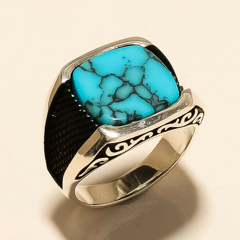 925 Sterling Silver Turkish Handmade Turquoise Stone Men/'s Luxury Ring All Sizes