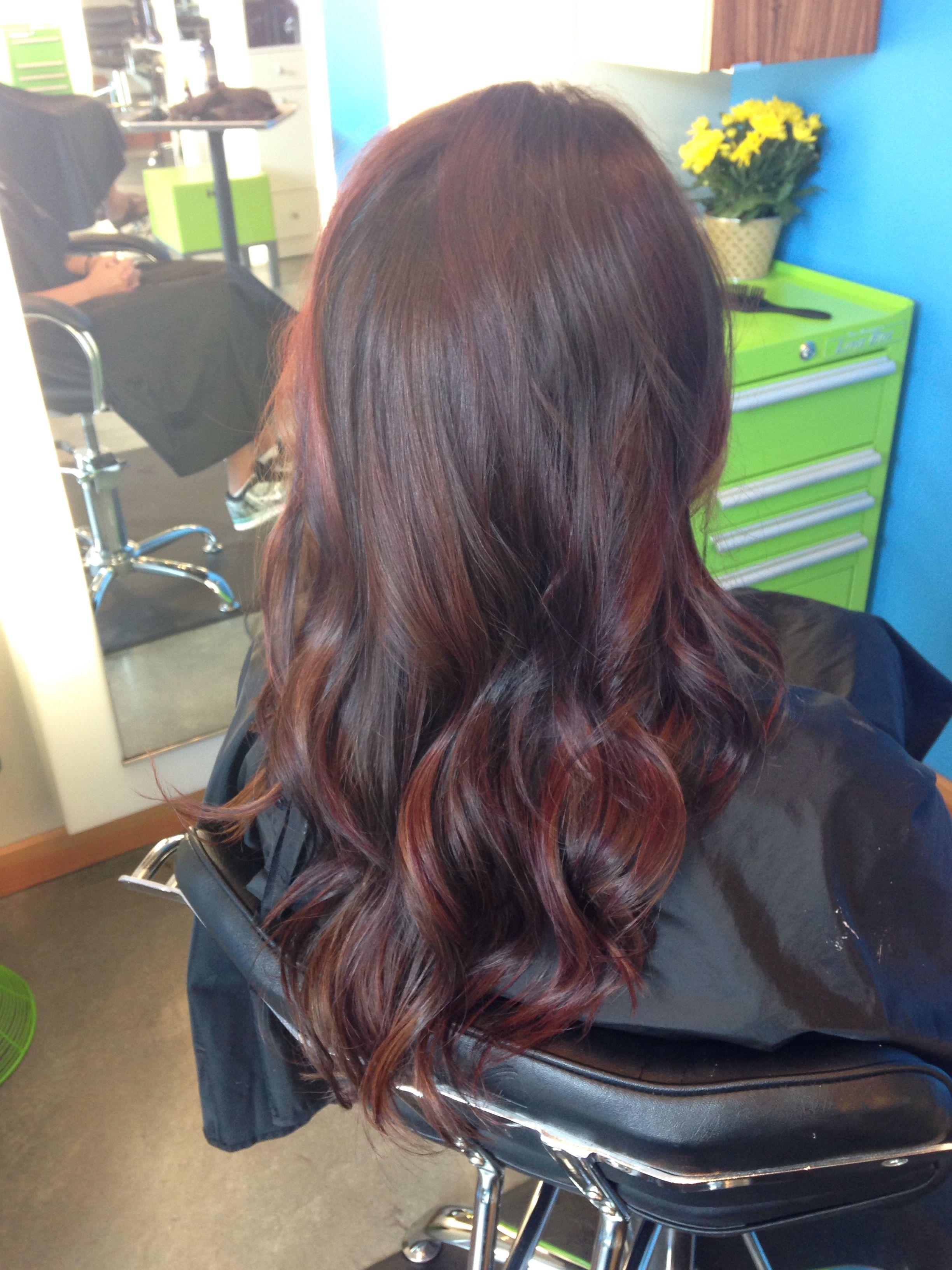 Balayage brunette brown caramel red hair highlights follow