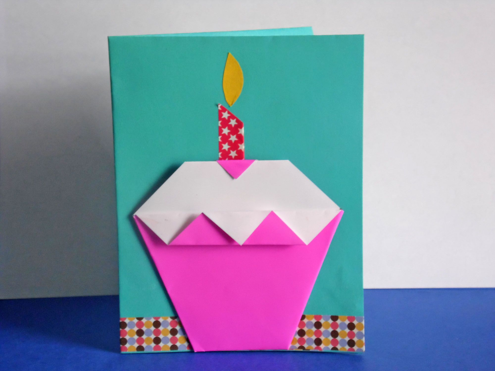 How to make an origami cupcake birthday card easy origami easy origami birthday card for kids to make jeuxipadfo Image collections