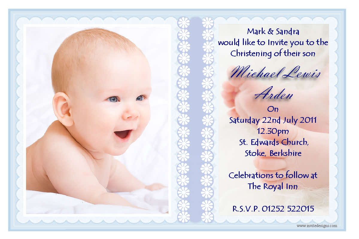 Invitations | Personalised Christening Invitations / Personalised ...