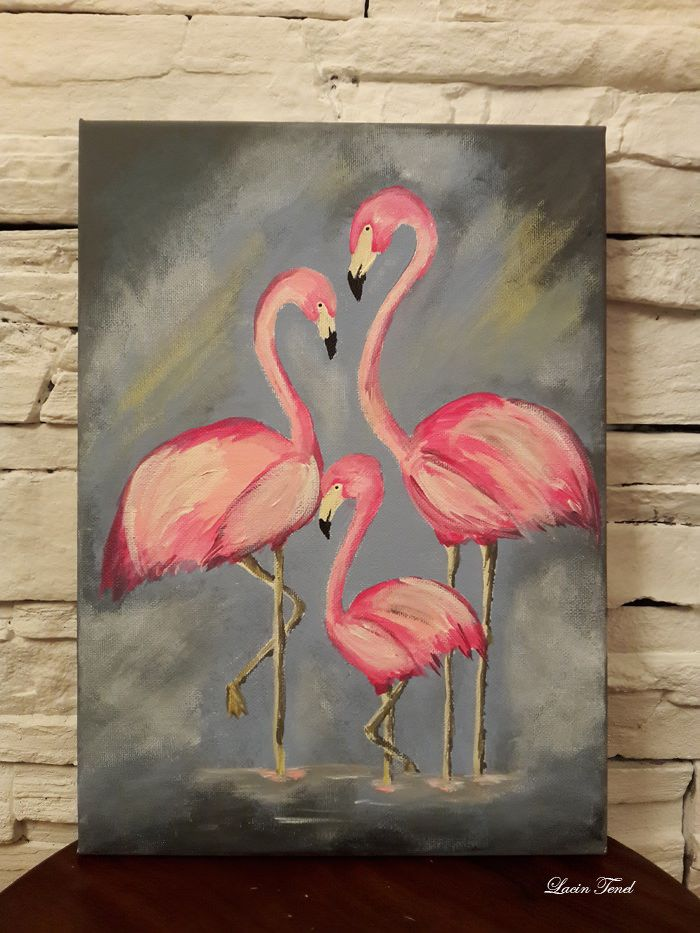 Flamingo Tablo Tablolar Soyut Tuval Resimleri Tuval Sanati