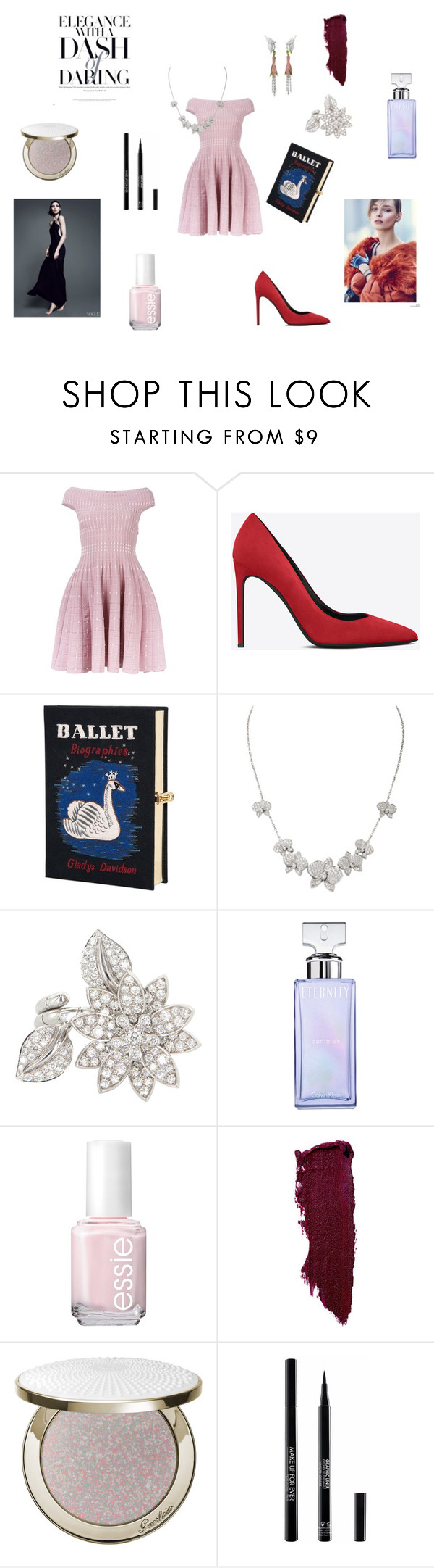 """""""Ballet"""" by maria-chamourlidou ❤ liked on Polyvore featuring Alexander McQueen, Yves Saint Laurent, Olympia Le-Tan, Van Cleef & Arpels, Calvin Klein, Essie, Lipstick Queen, Guerlain, MAKE UP FOR EVER and women's clothing"""