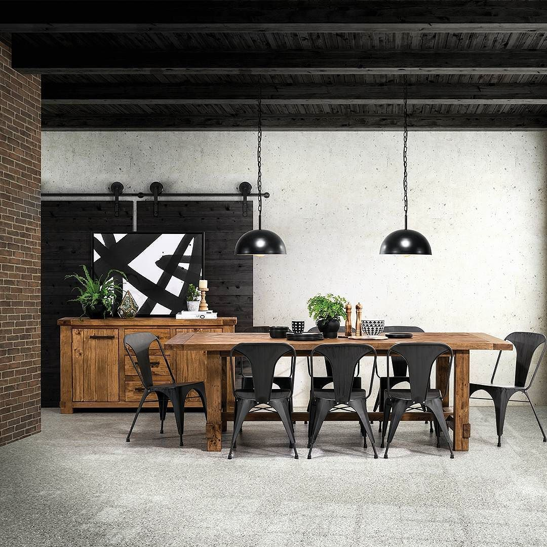 Industrial Dining Room Goals Ft Our Buffet 849 9 Piece Suite