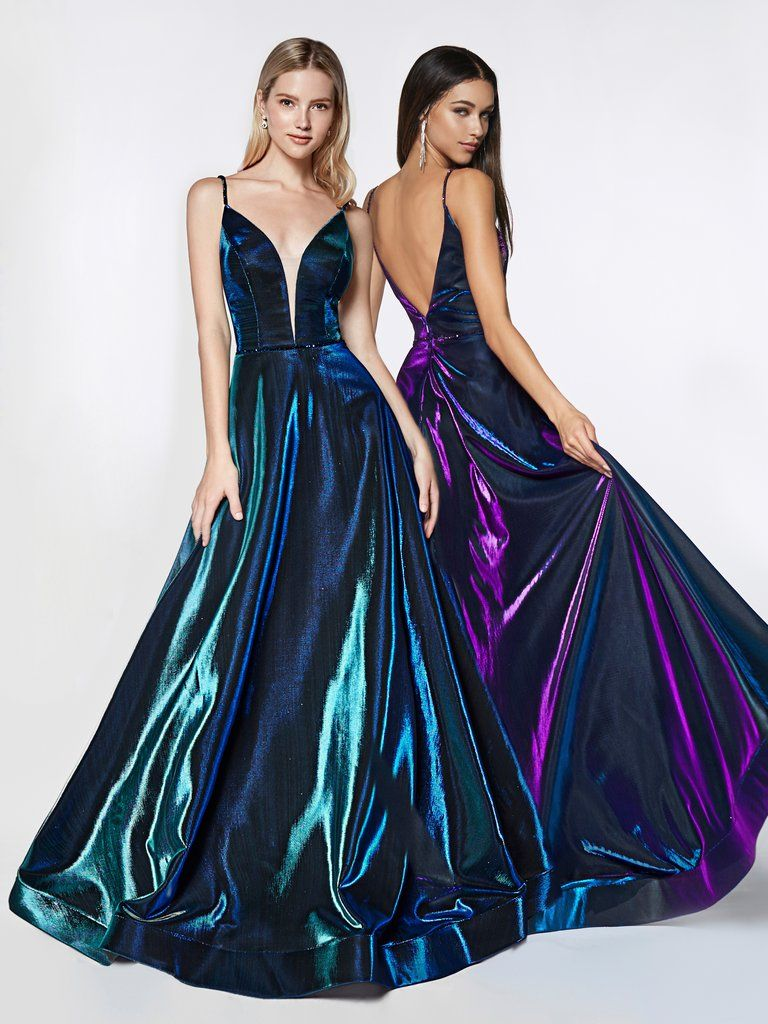943737ba662 Long Metallic Iridescent A-line Dress by Cinderella Divine CJ506 – ABC  Fashion