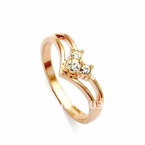 New Style 18k Yellow Gold Plated Crystal Cz Fashion Women Wedding Ring Cincin Kawin Liontin Cincin