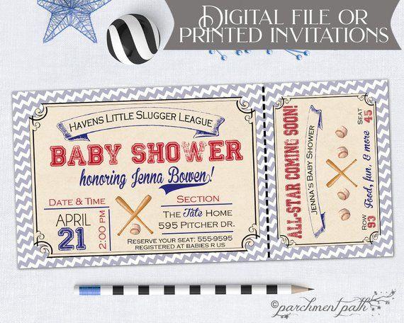 Baseball Baby Shower Invitation Sports