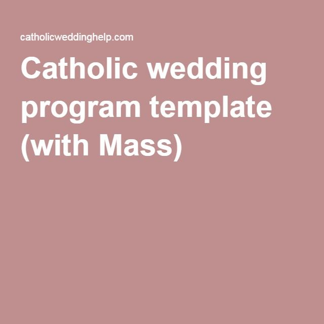Catholic Wedding Program Template With Mass  Wedding
