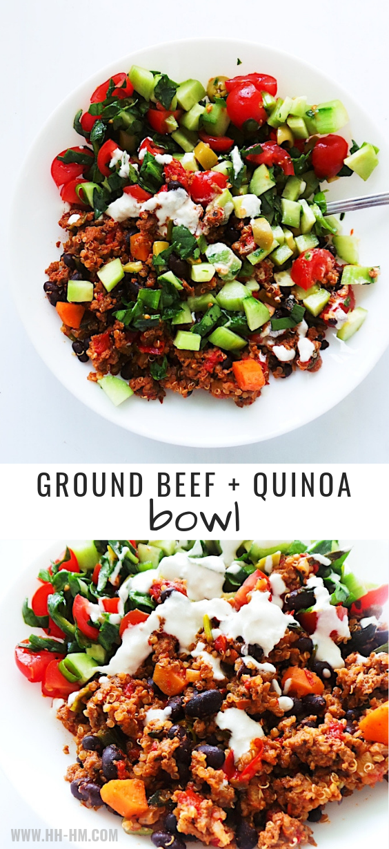 Healthy Salad Quinoa And Ground Beef Bowl With A Delicious Garlicky Sauce This Healthy G Healthy Ground Beef Healthy Beef Recipes Ground Beef Recipes Healthy