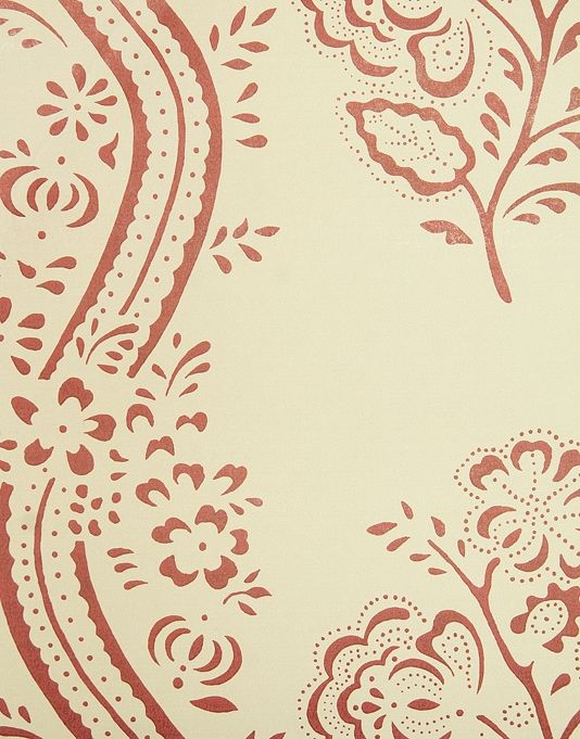 Ashdown wallpaper cream wallpaper with red floral design and twisting stripe