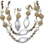 Vintage 1960s Bergere Necklace and Earrings Demi Parure