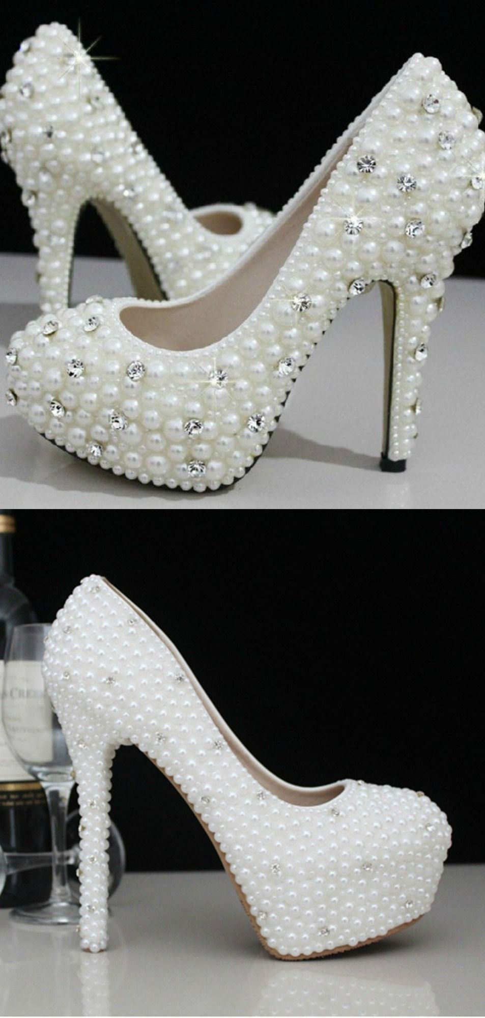 Cinderella s Wish Wedding Shoes. Bridal shoes.You must feel like a princess  on the big day and these gorgeous crystal and pearl wedding shoes will do  just ... adccb72909