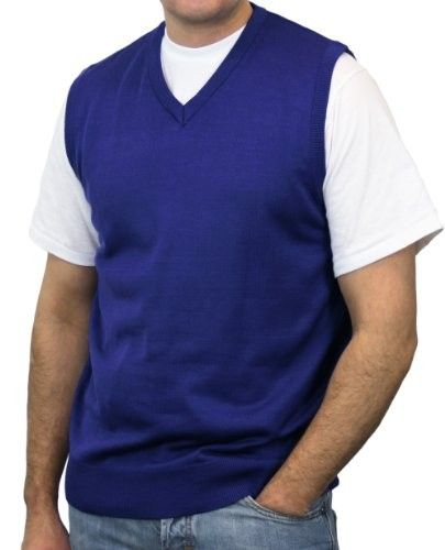 Blue Ocean Solid V-Neck Sweater Vest-Royal Blue-Large | Men ...