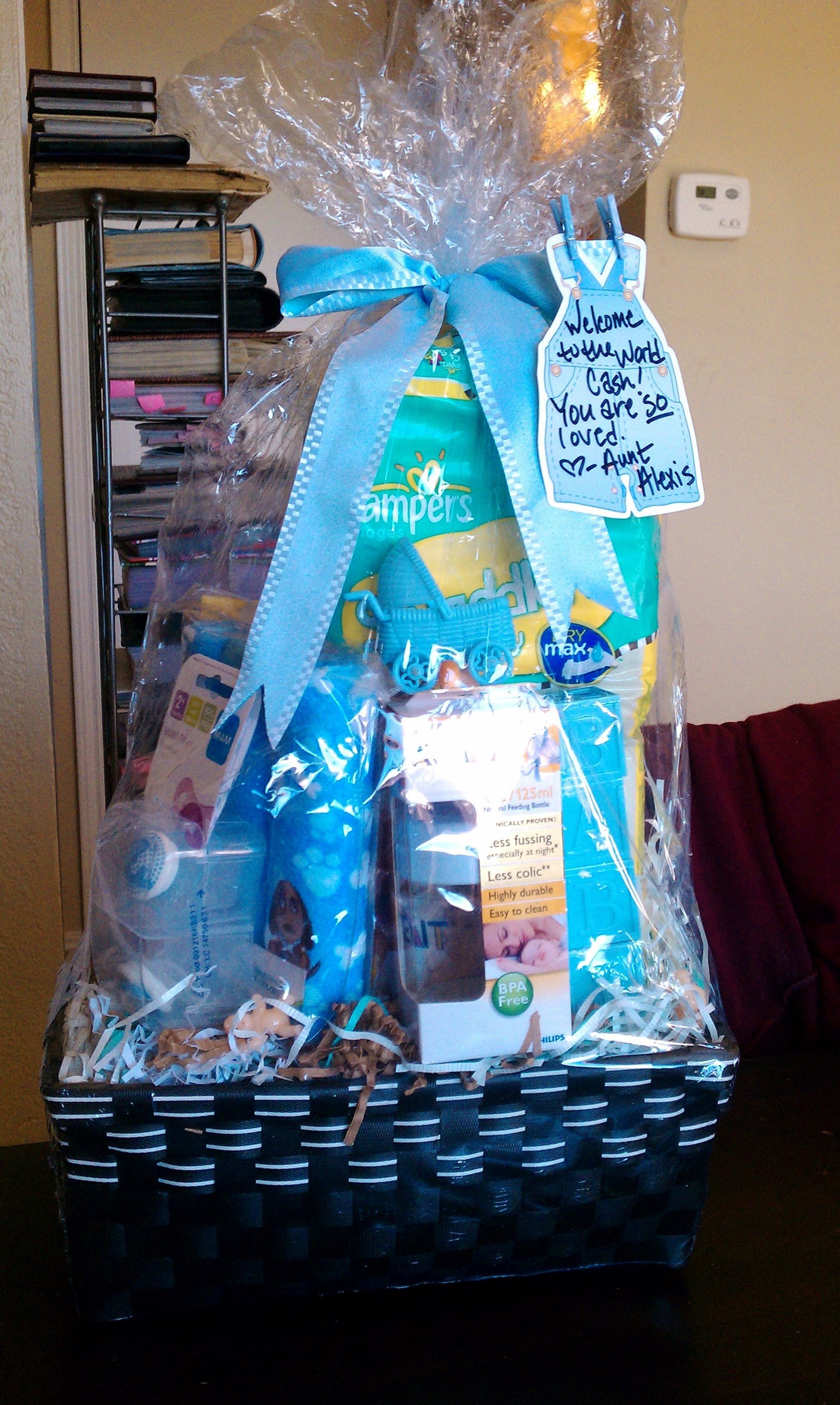 Baby boy shower gift basket baby stuff not for me pinterest baby boy shower gift basket negle Images