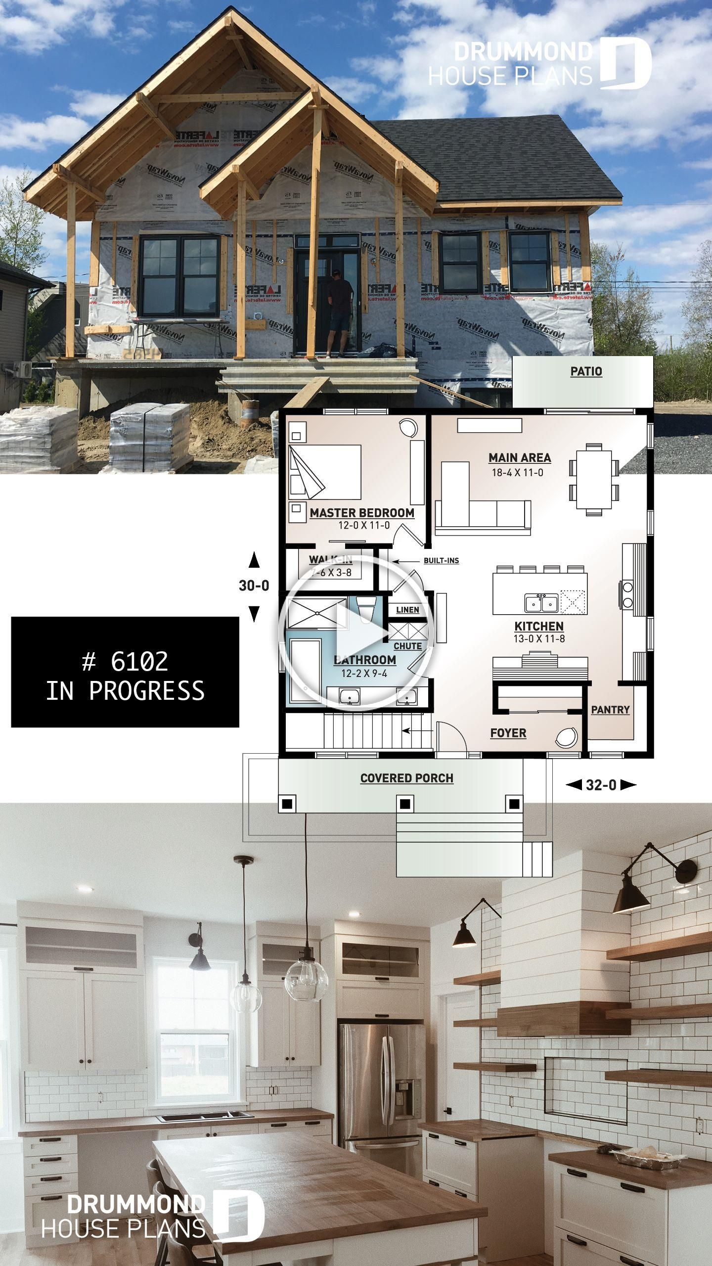 Modern Rustic Farmhouse Tiny Home Of 960 Sq Ft With Large Kitchen Pantry In Kitchen Master Bed Basement House Plans Small Farmhouse Plans Small House Design