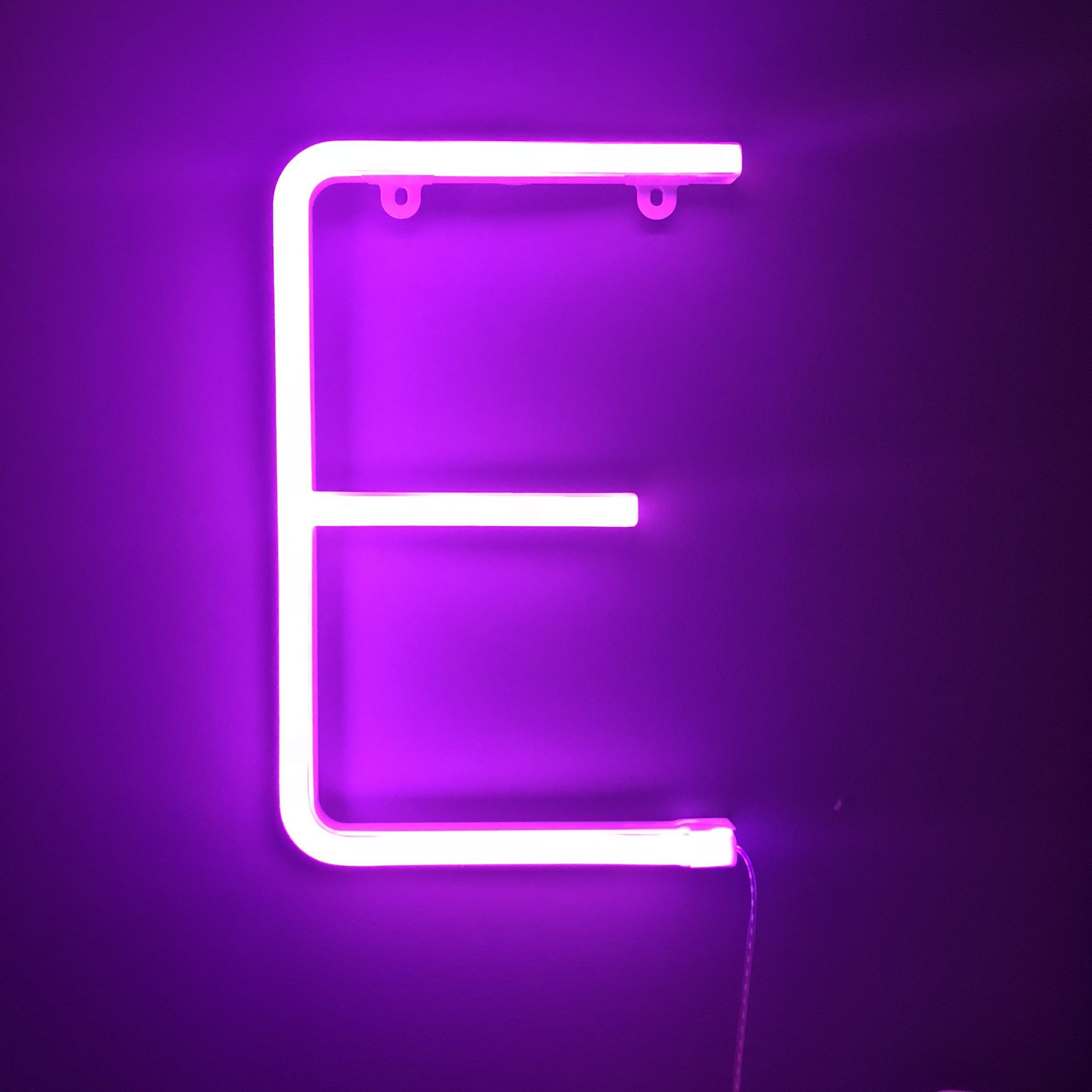 Neon Letter E Pink Love in 2019 Lettering, Neon