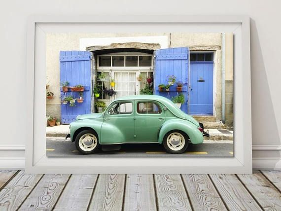 Retro Car Print Classic Citroen Art Vehicle Printable Digital Download French Automobile Provence France Turquoise Green Art Boy Playroom