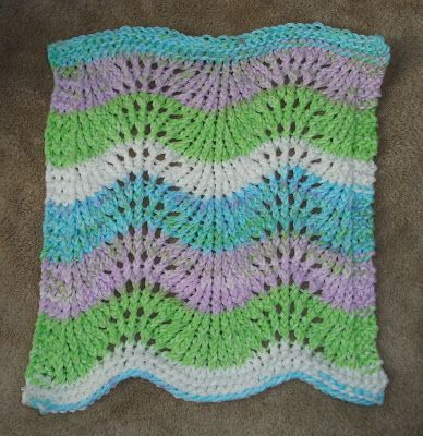 Completed Project: Feather and Fan Dishcloth   Knit stitch ...