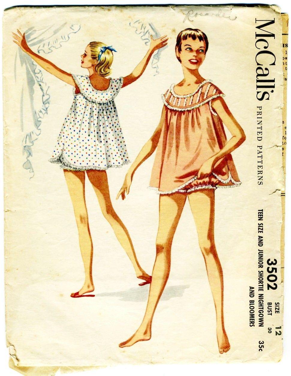 Vintage 1950s Teen Baby Doll Pajama Pattern Bloomers McCalls 3502 ...