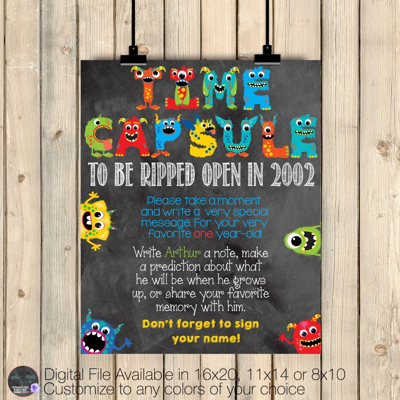 Monsters Time Capsule Sign, First Birthday Keepsake, Monster ...