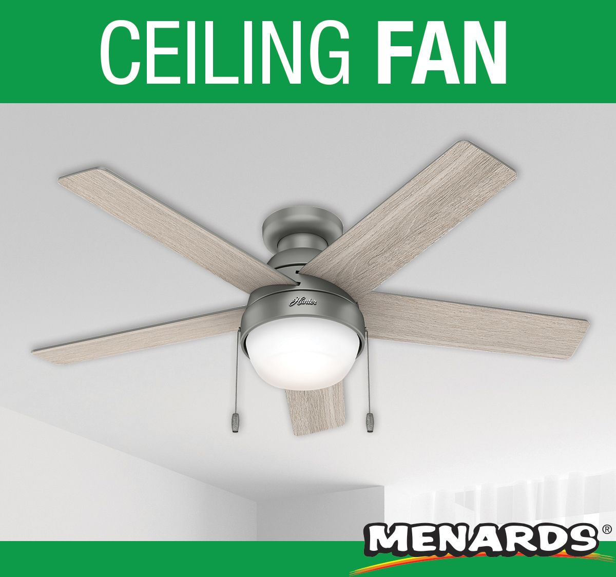 Save Energy On Your Heating And Cooling Bill With This Hunter 48 Aegis Ceiling Fan With 2 Dimmable Led Bulbs In 2020 Ceiling Fan Silver Ceiling Fan Contemporary Fan