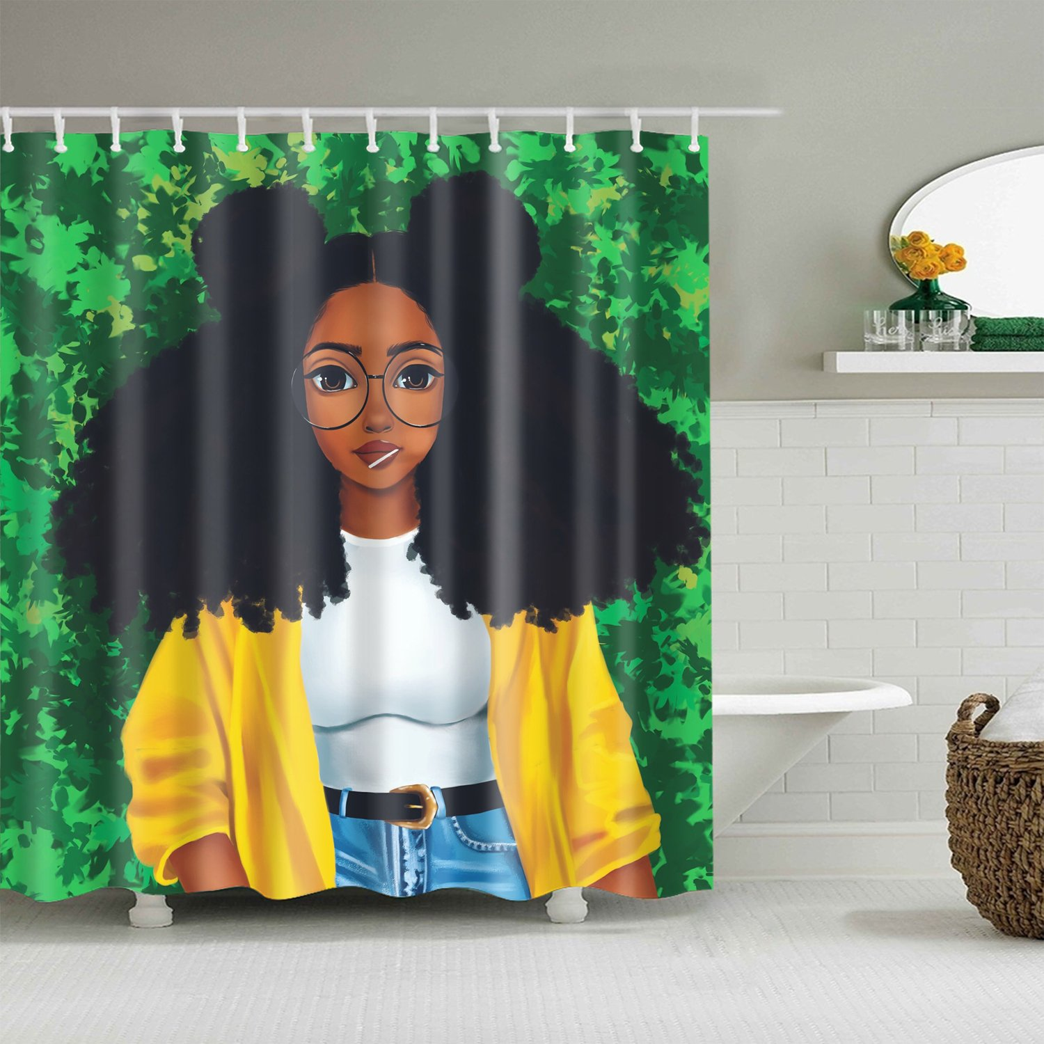 Afro Hairstyle Black Girl With Lollipop Shower Curtain Bathroom