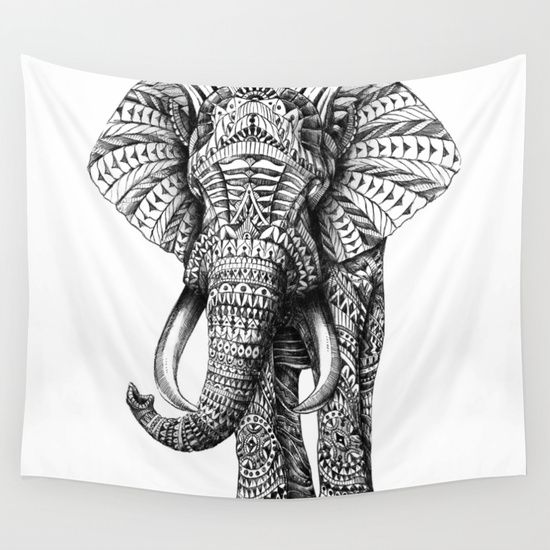 Black and white ornate elephant wall tapestry by bioworkz