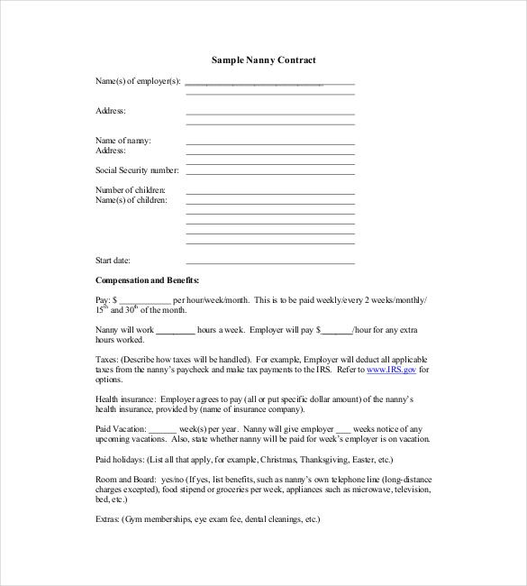 Sample Nanny Contract Template   Simple Contract Template And