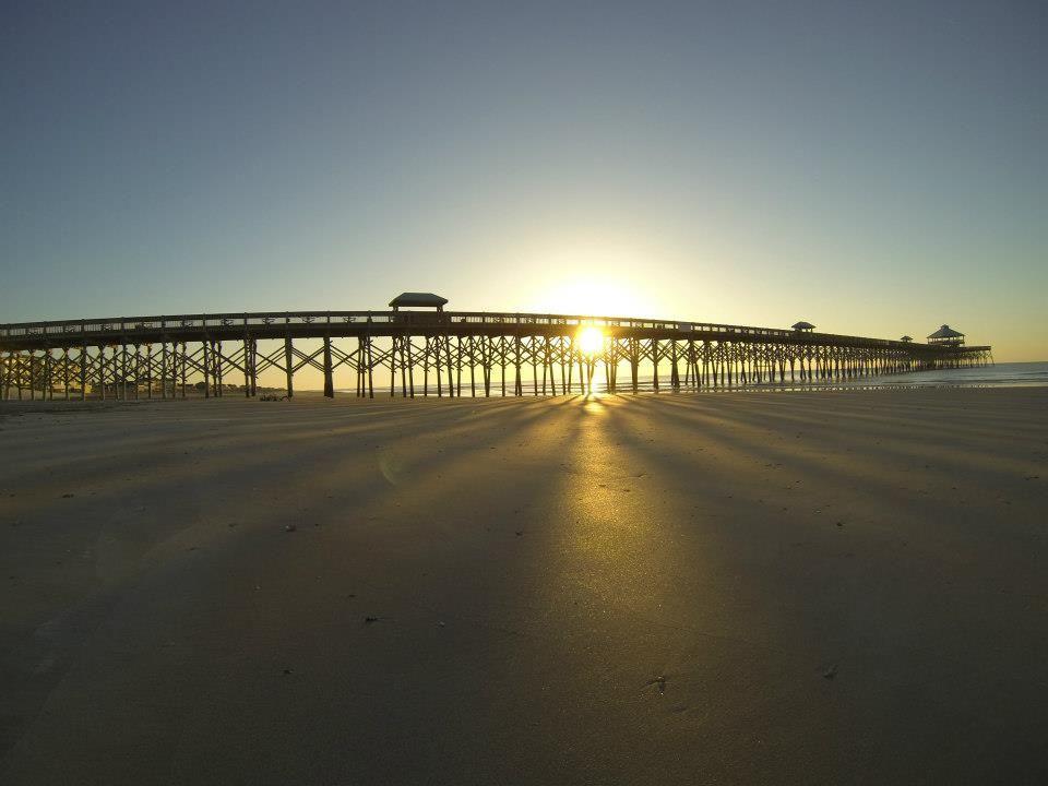 Sunrise behind the folly beach fishing pier beautiful for Folly beach fishing