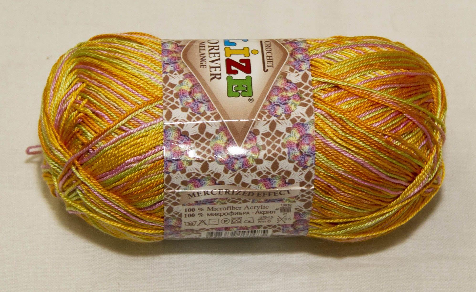 Háčkovacie priadze | Oranžovo ružovo zelená melírovaná akrylová vlna Forever Melange 50862 | Online predaj pletacích, strojových a textilných priadzí