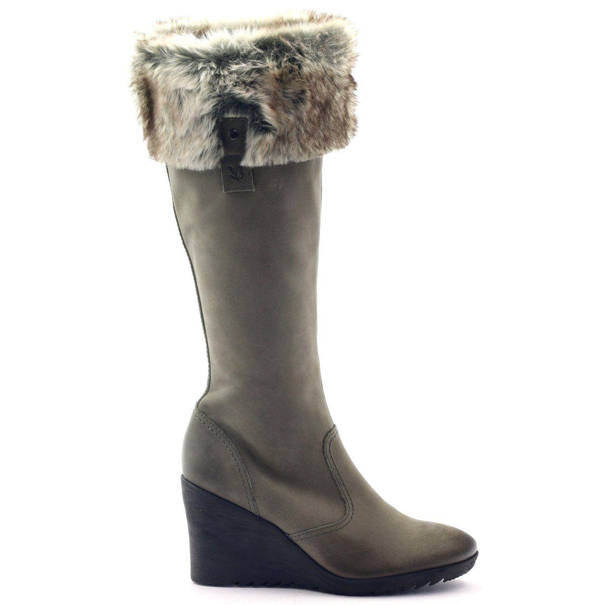 Caprice Kozaki Buty Damskie Skorzane 25607 Szare Womens Boots Boots Leather Women