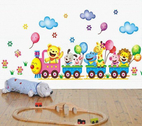 Train Animals and Balloons Wall Sticker Decal Kids Children ...