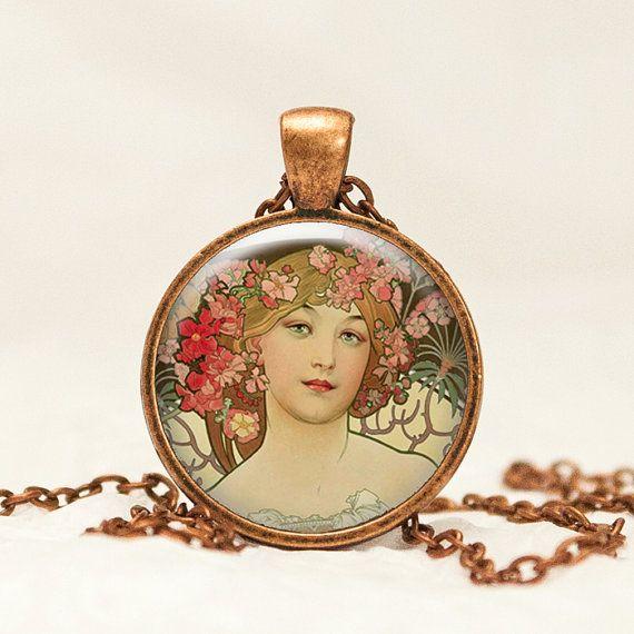 Alphonse Mucha Glass Pendant Necklace in by prideandpendants