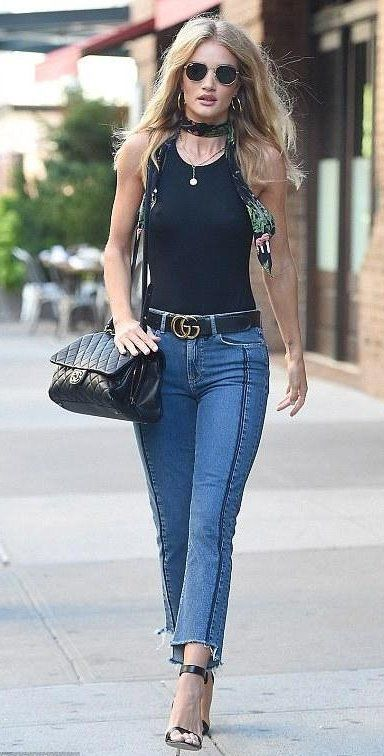 4f27fa95136ba Rosie Huntington-Whiteley in Rockins paired with a Gucci belt and Chanel bag  out in L.A.  bestdressed