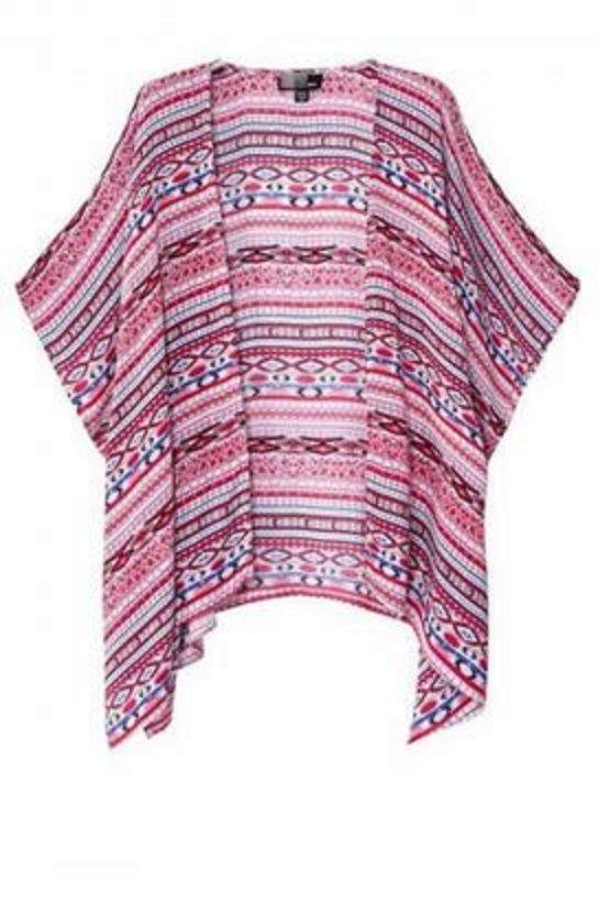 Great Kimono to wear with Jean Shorts! Love these Colors! Pink and Denim Blue Boho Chic Summer Loose Cardigan Top Short Batwing Sleeve Striped Kimono #Boho #Chic #Pink #Blue #Kimono #Style #Cardigan #Summer #Fashion