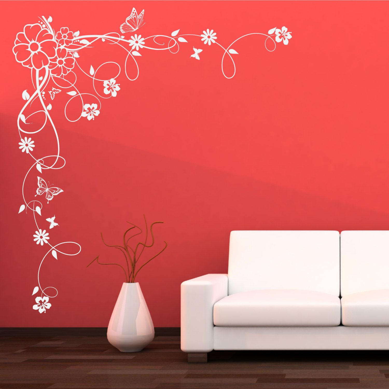 Corner Flower Vine Hibiscus Swirl Wall Decal By Wallsmartdesigns 31 99 Paredes Pintadas Pinturas De Pared Decoracion De Unas