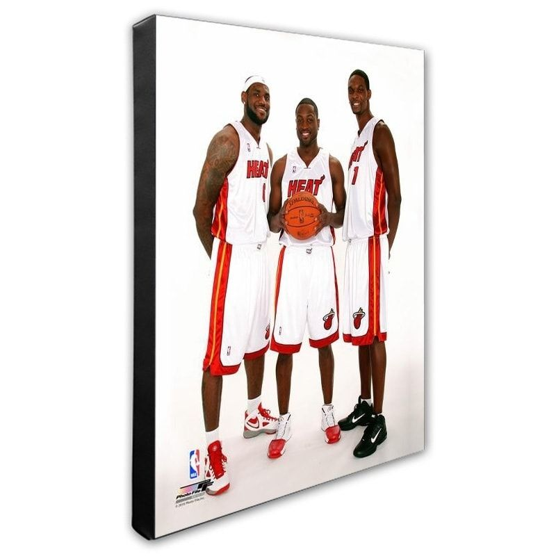 Nba Dwyane Wade Lebron James Chris Bosh 2010 Posed Stretched Canvas Officially Licensed Chris Bosh Dwyane Wade Lebron James
