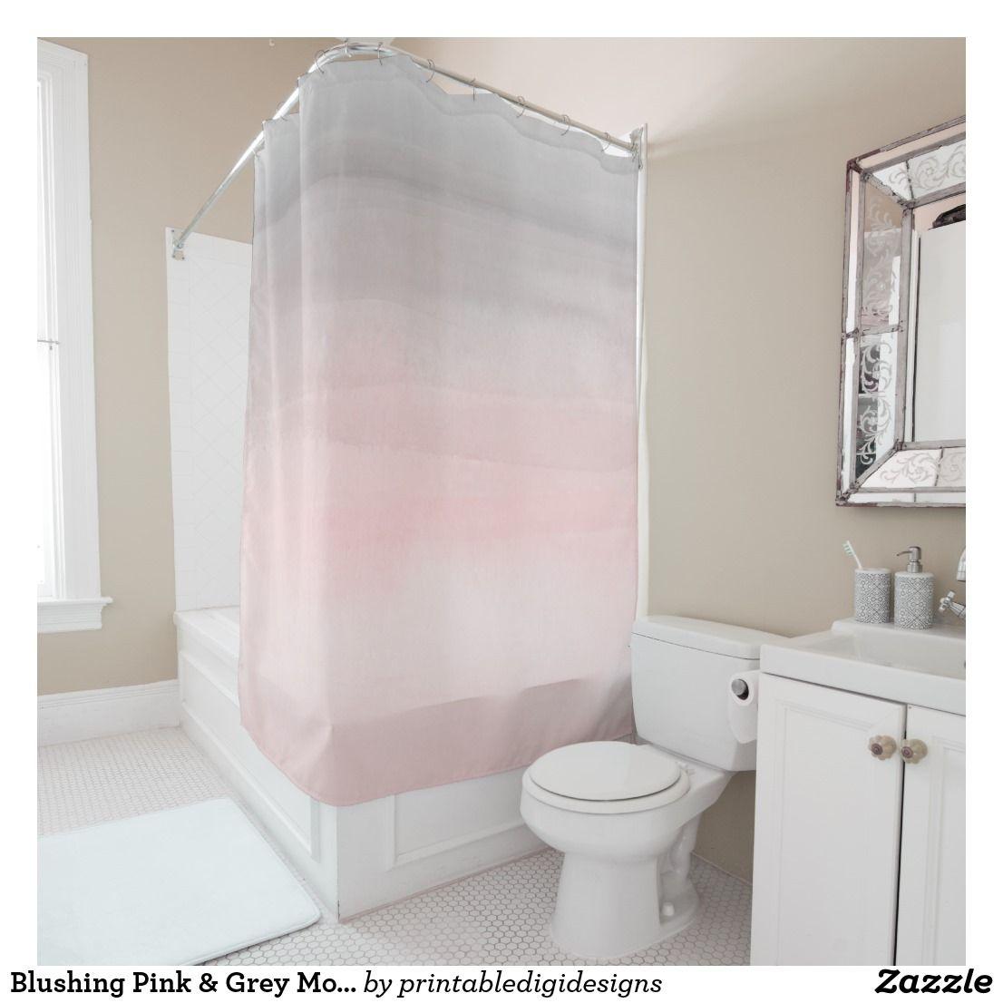 Blushing Pink Grey Modern Watercolor Girly Glam Shower Curtain