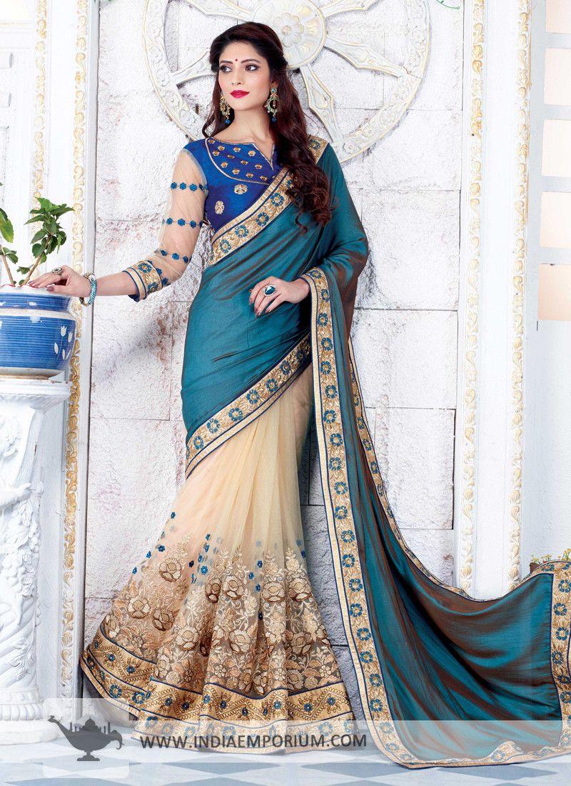 51d58daab5 Smashing Silk Pallu Net Embroidered Based Half N Half Saree | #Saree ...