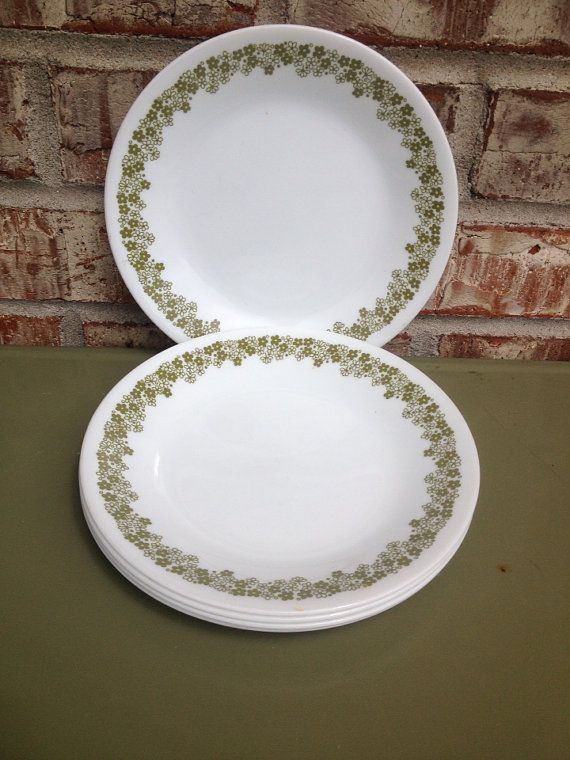 Set of 5 - Corelle / Corning / Pyrex - Spring Blossom / Crazy Daisy Dessert / Salad Plates - Avocado / Grass / Olive Green Floral / Flowers : olive green dinnerware - pezcame.com