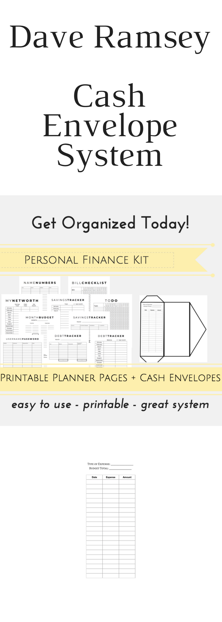Dave Ramsey System PRINTABLE Planner Pages, Budget Envelopes ...