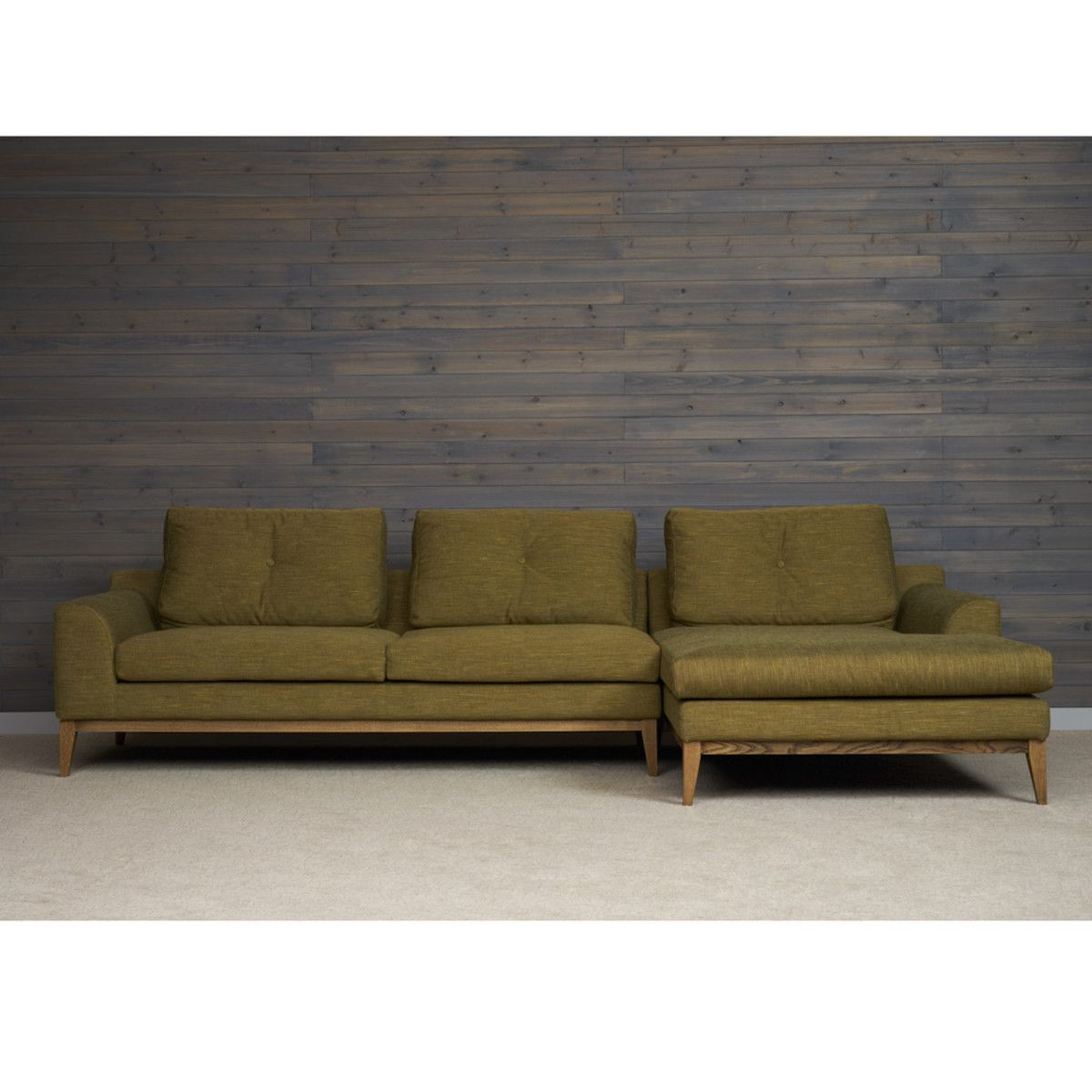 Wagner 2pc Mid Century Modern Sofa Sectional Olive Green Rst