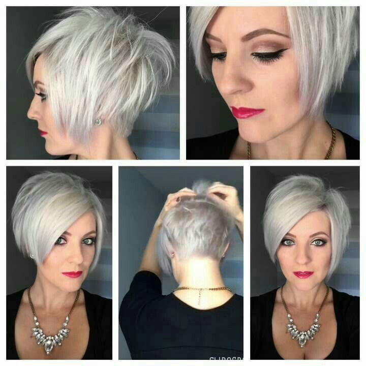 Short Stacked Cut Color Grey Hair Hair Styles Hair Short