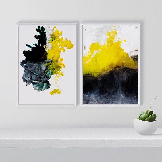 Abstract Print Set, Set of 2 Abstract Wall Arts, Yellow Black Gray ...