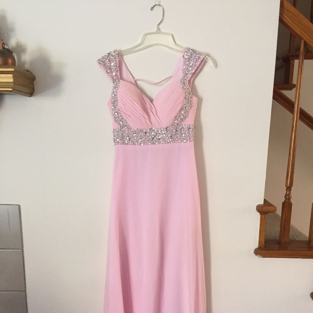 Pink prom dress with silver jewels products